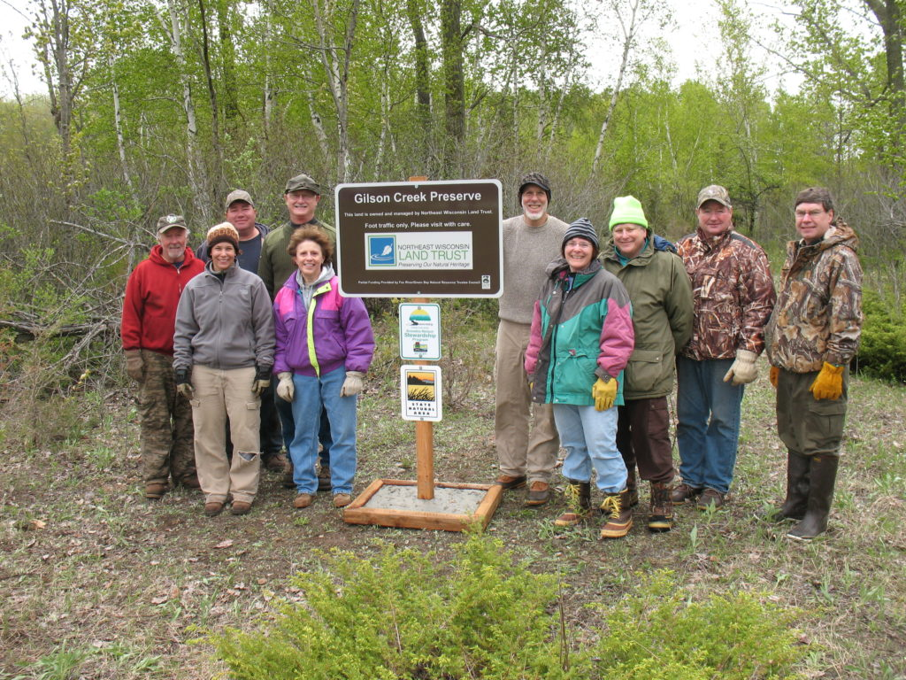 Gilson Creek Preserve sign installation – 31 protected acres in Brown County
